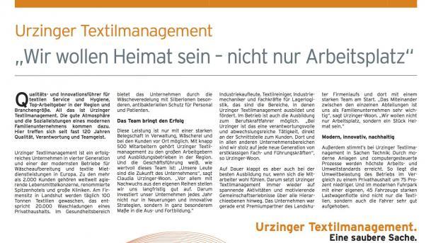 Urzinger Textilmanagement in der Wirtschaftszeitung des Wochenblatts Landshut